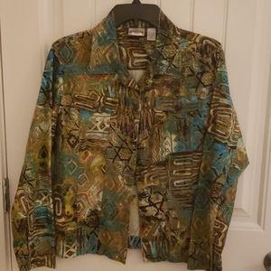 CHICO'S COLORFUL 90%cotton/10%linen jacket
